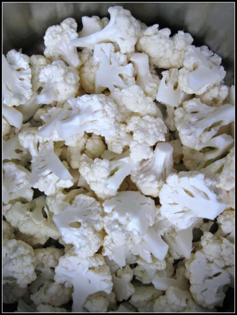Bite size cauliflower florets
