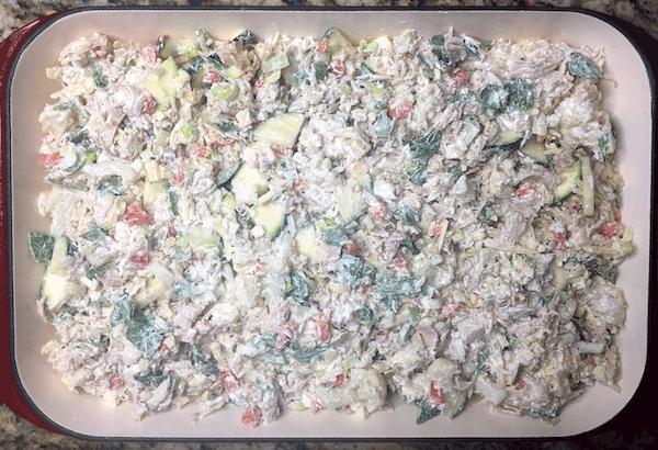 chicken cauliflower casserole in a pan before baking