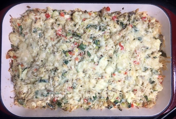 chicken cauliflower casserole in a pan after baking