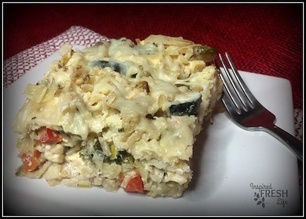 Chicken cauliflower casserole serving on a plate