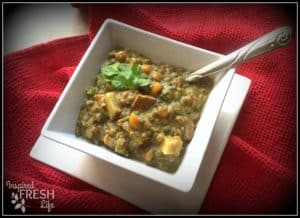 ham and lentil soup in a square white bowl