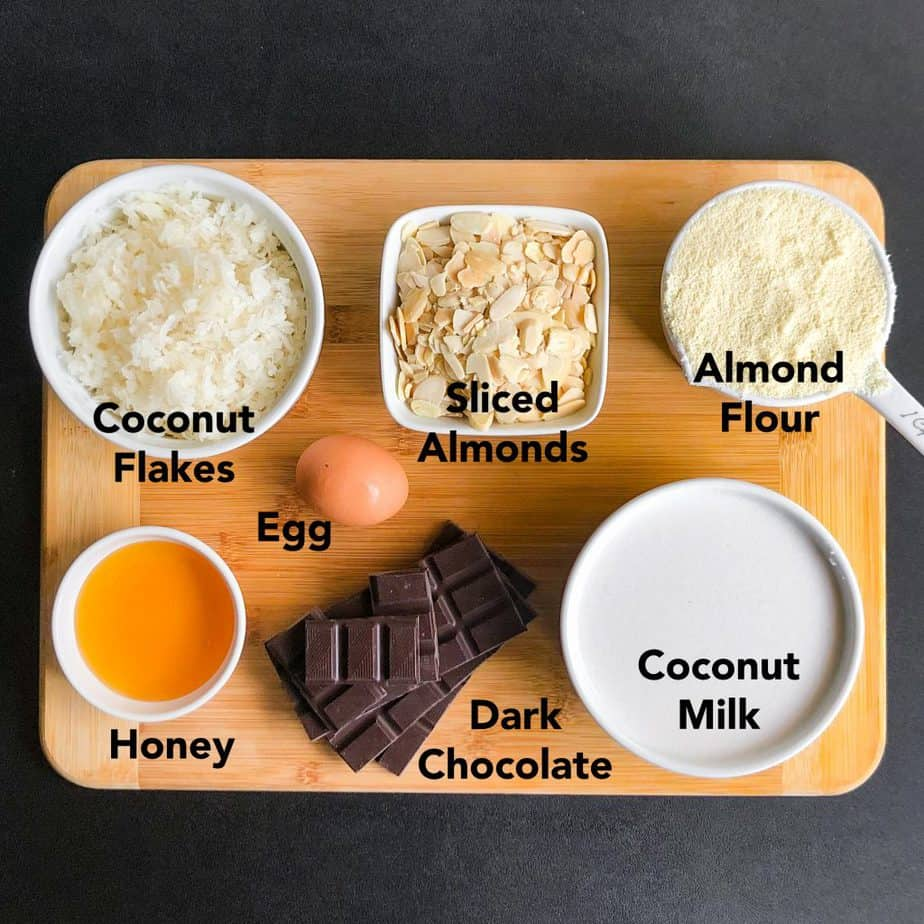 Measured ingredients on a wood cutting board.
