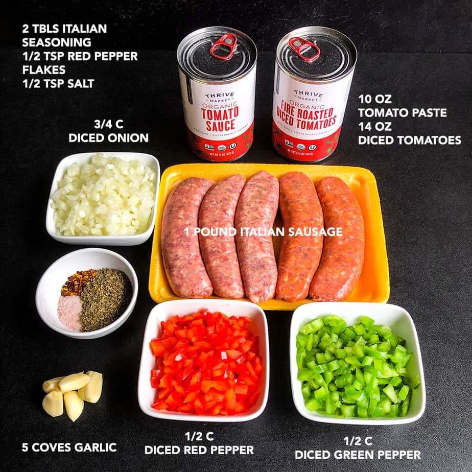 Ingredients for making sloppy joes prepped and portioned.