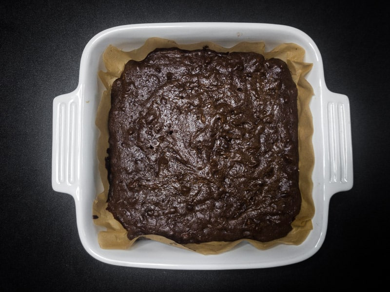 Brownies are finished baking and removed from the oven.