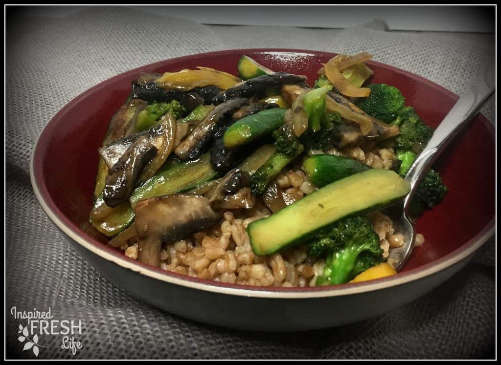Veggie Farro Stri Fry in a red bowl