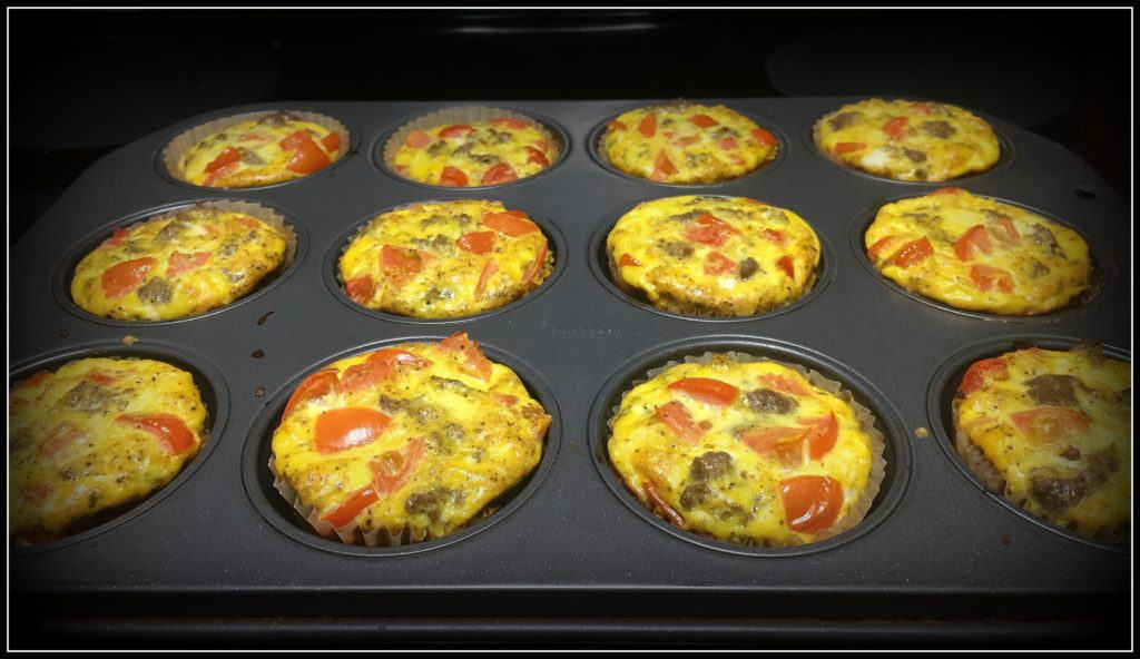 Dairy-free egg muffins baked and still in muffin tin.