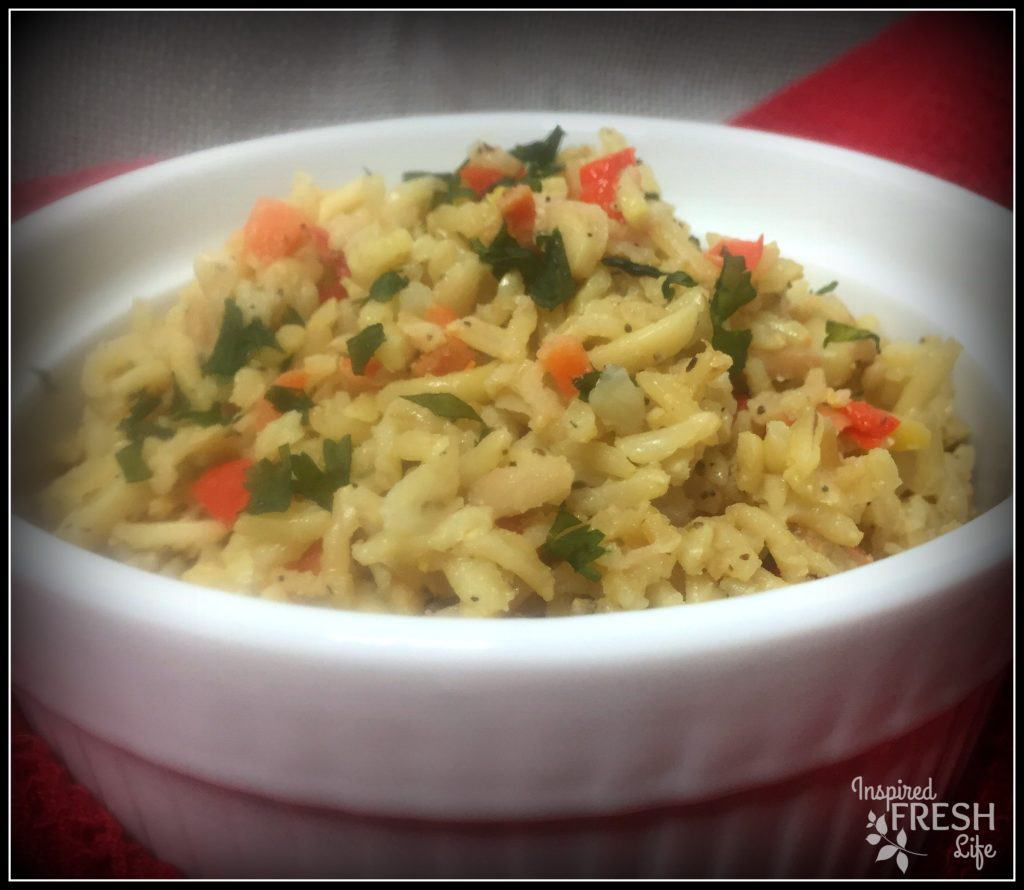 Brown Rice Pilaf in a white bowl