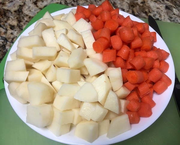 Potatoes and carrots in a bowl
