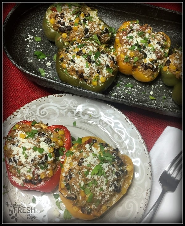 Vegetarian Fiesta Stuffed Peppers plated, and ready to serve.