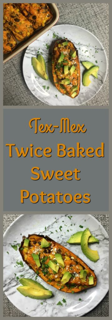Tex-Mex Twice Baked Sweet Potatoes Pinterest image