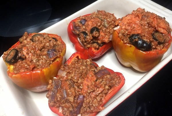 Ultimate Pizza Stuffed Peppers in baking dish ready to be baked