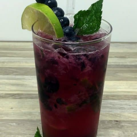 Blueberry mojito with blueberries, mint, and lime for garnish