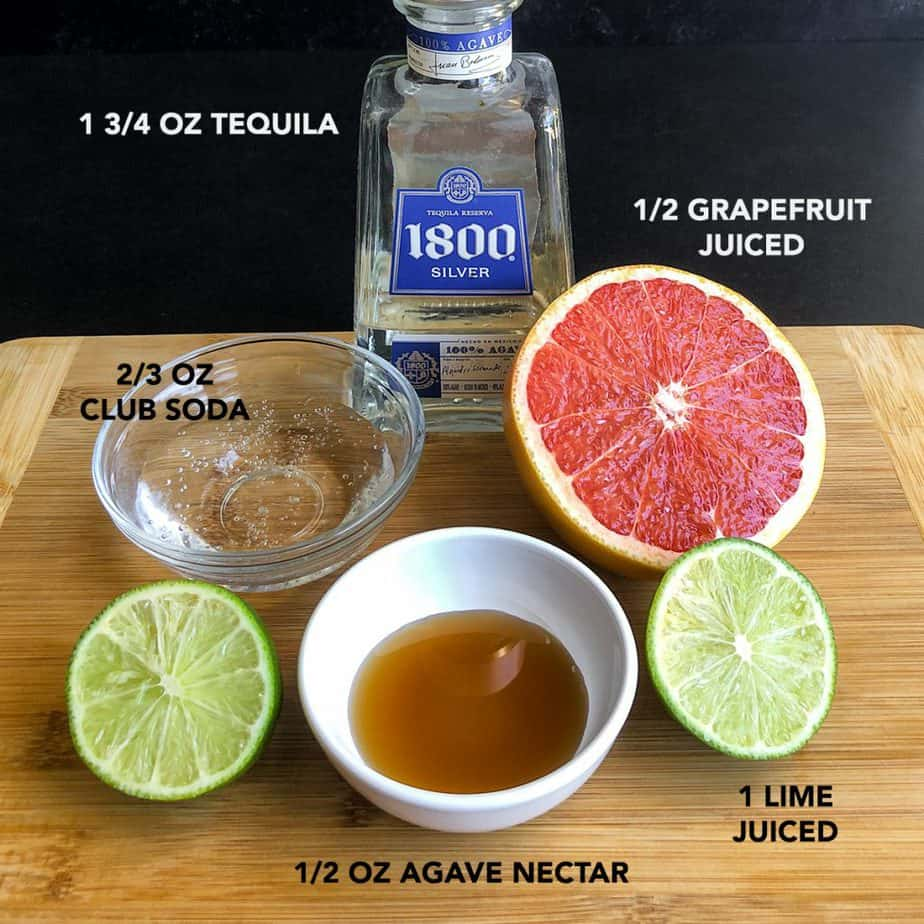 Ingredients portioned for making a Paloma cocktail.