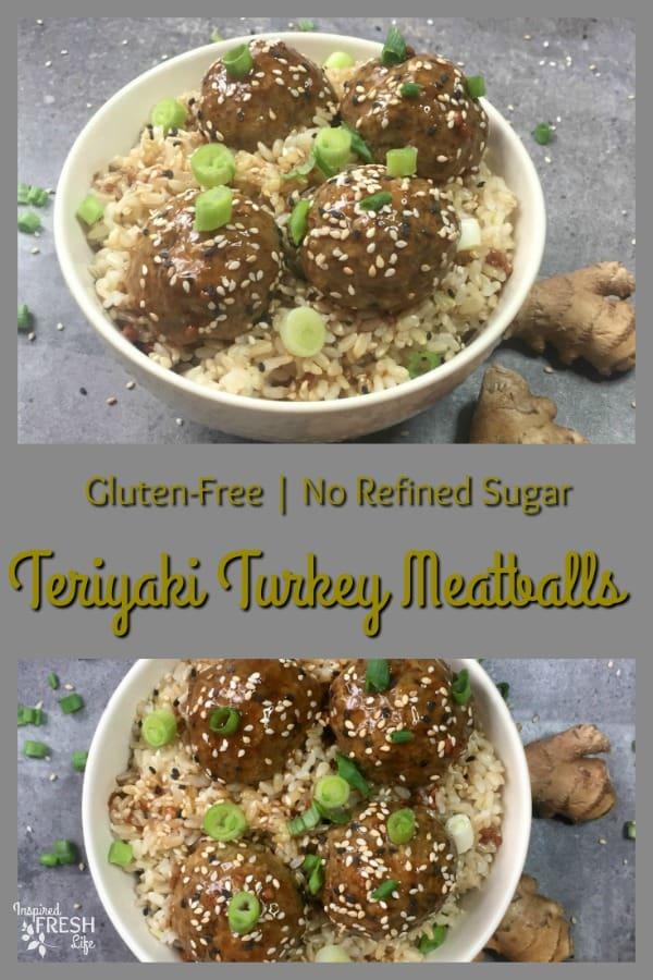 Pinterest pin for Teriyaki Turkey Meatballs