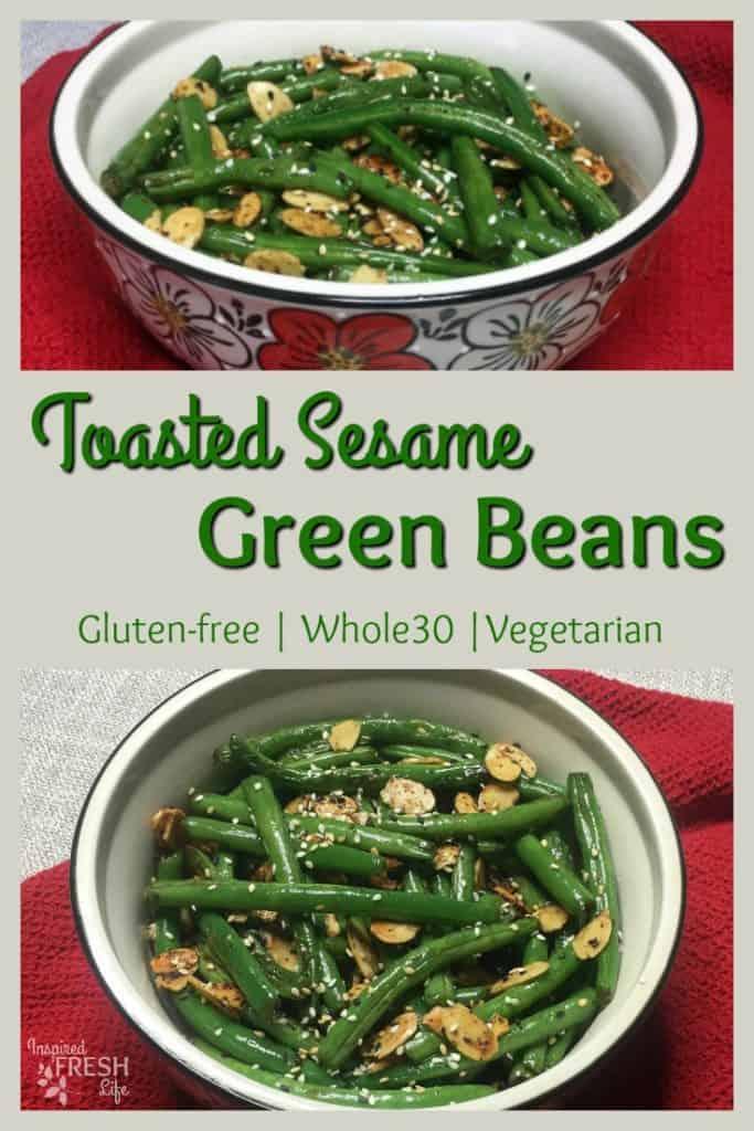 Toasted Sesame Green Beans Pinterest image