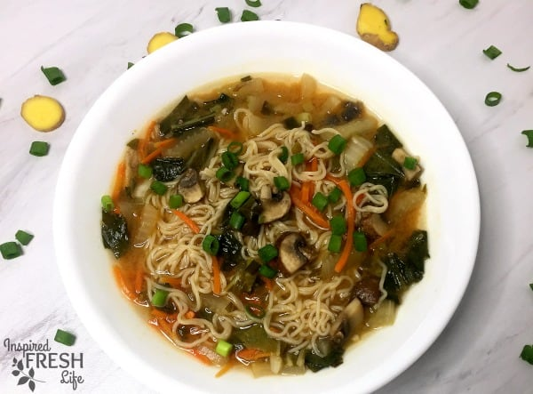 Vegetable Miso Noodle Soup in a white bowl