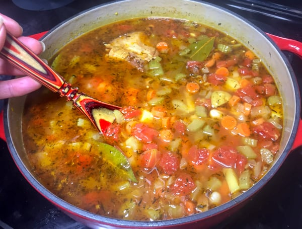 Ham and Bean Soup cooking in a Dutch oven.