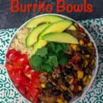 Vegetarian Burrito Bowls Pinterest image