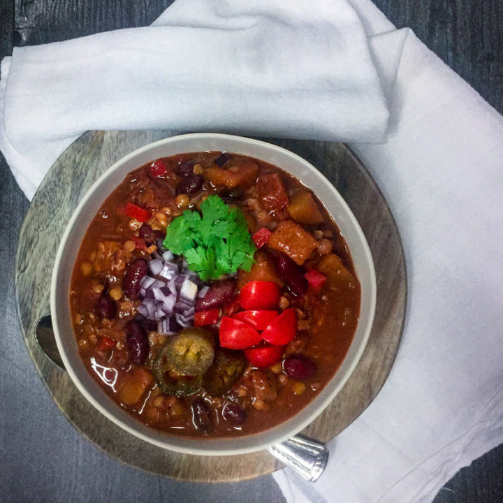 Vegetarian Chili with Lentils and Butternut Squash