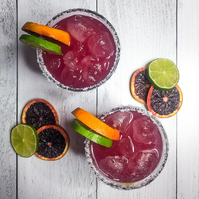 Overhead shot Skinny Blood Orange Margarita