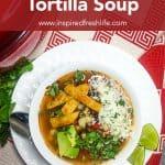 Pinterest image for Vegetarian Tortilla Soup