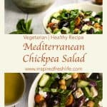 Pinterest image for Mediterranean Chickpea Salad.