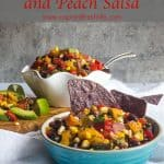 Grill Summer Corn and Peach Salsa Pinterest image.