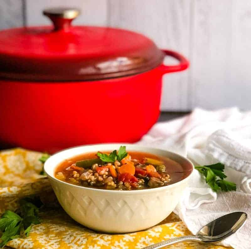 Vegetable Sorghum Soup in a white bowl with parsley garnish in front of a red Dutch oven.