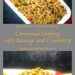 Pinterest image for Cornbread Dressing with Sausage and Cranberries