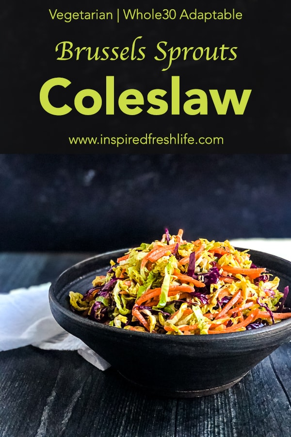 Pinterest image for Brussels Sprouts Coleslaw