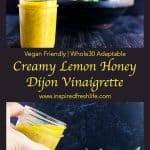 Pinterest image for Creamy Lemon Honey Dijon Vinaigrette