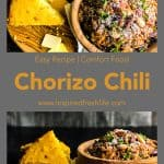 Pinterest image for Chorizo and Bean Chili