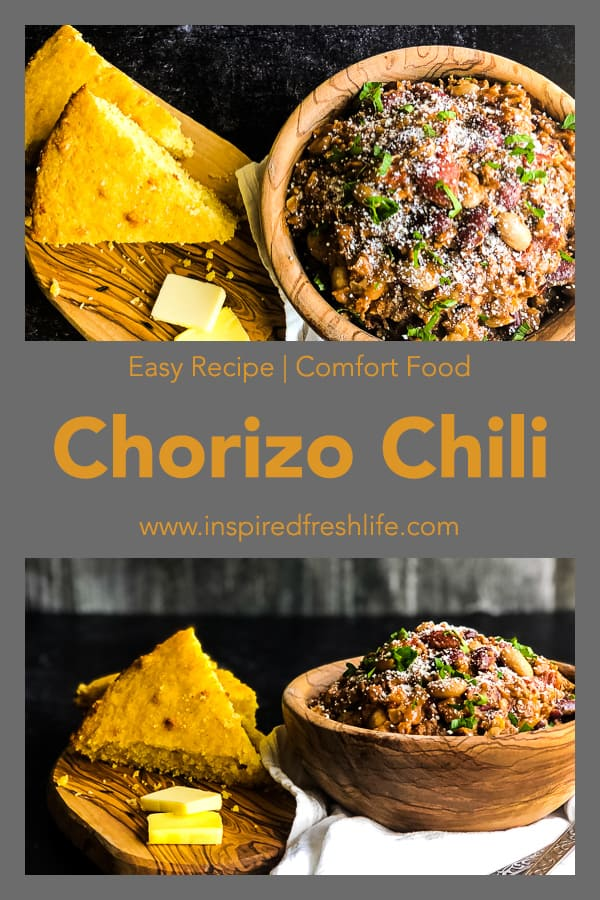 Pinterest image for Chorizo and Bean Chili
