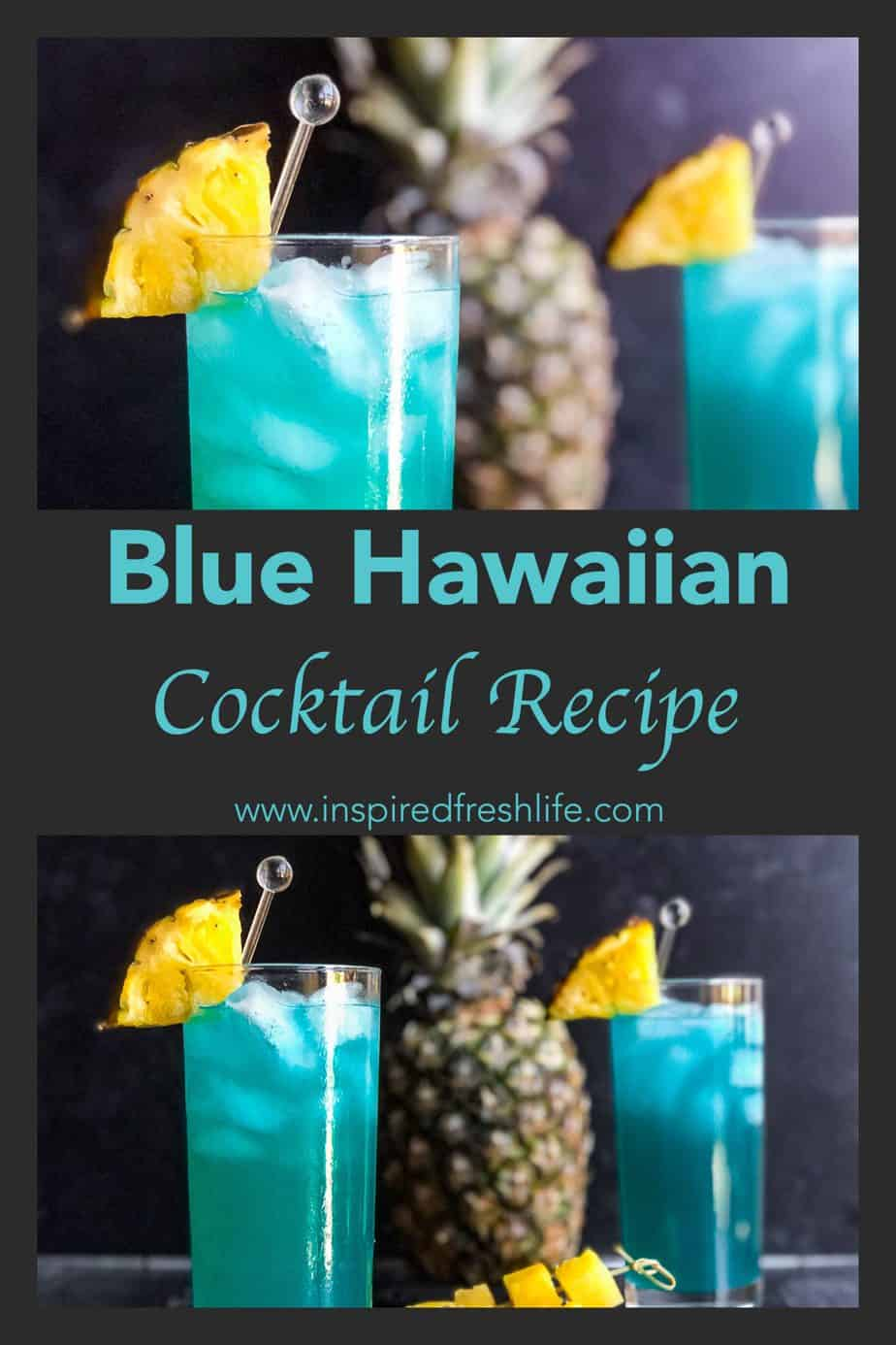 Pinterest image for Blue Hawaiian Cocktail.