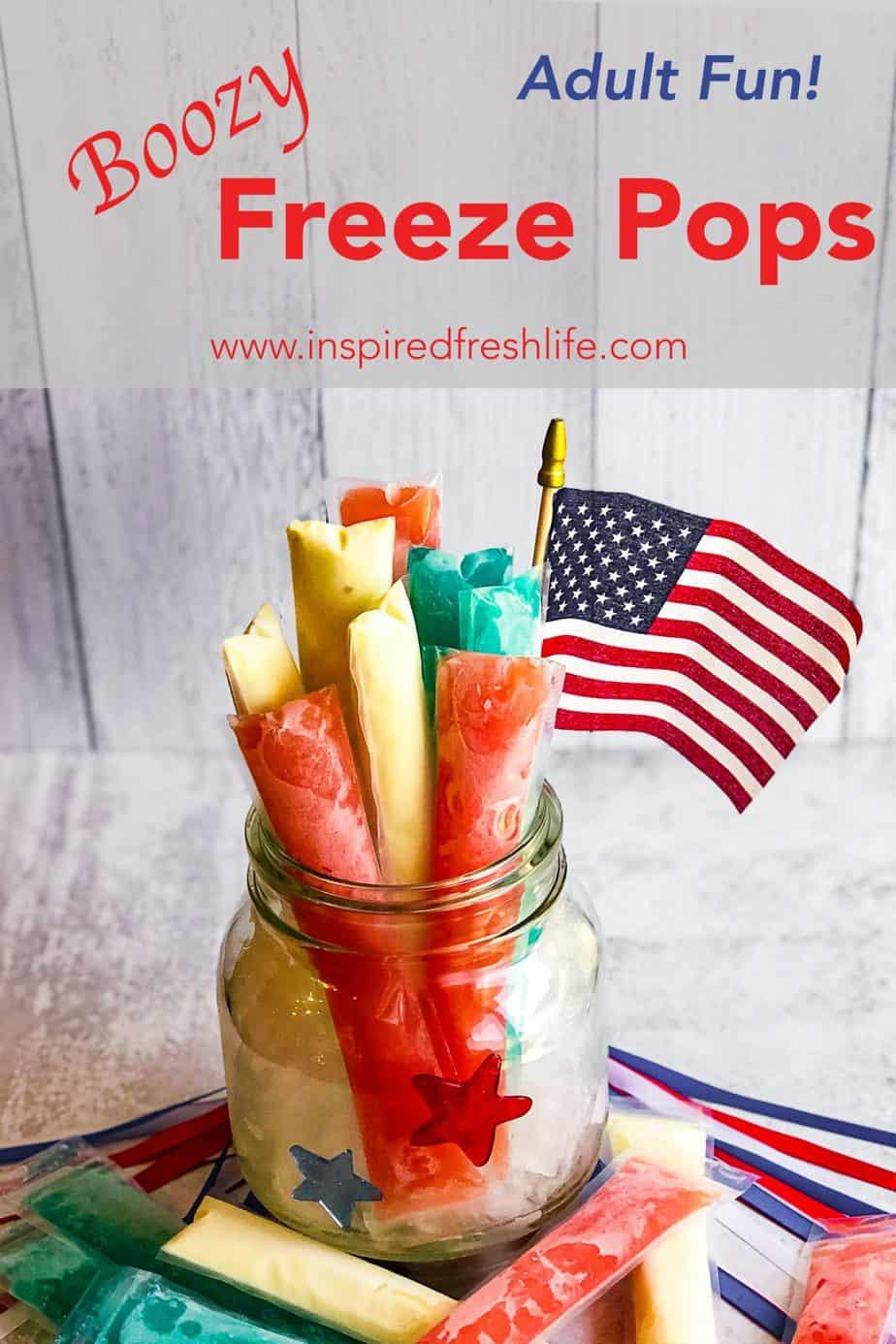 Pinterest image for Boozy Freeze Pops