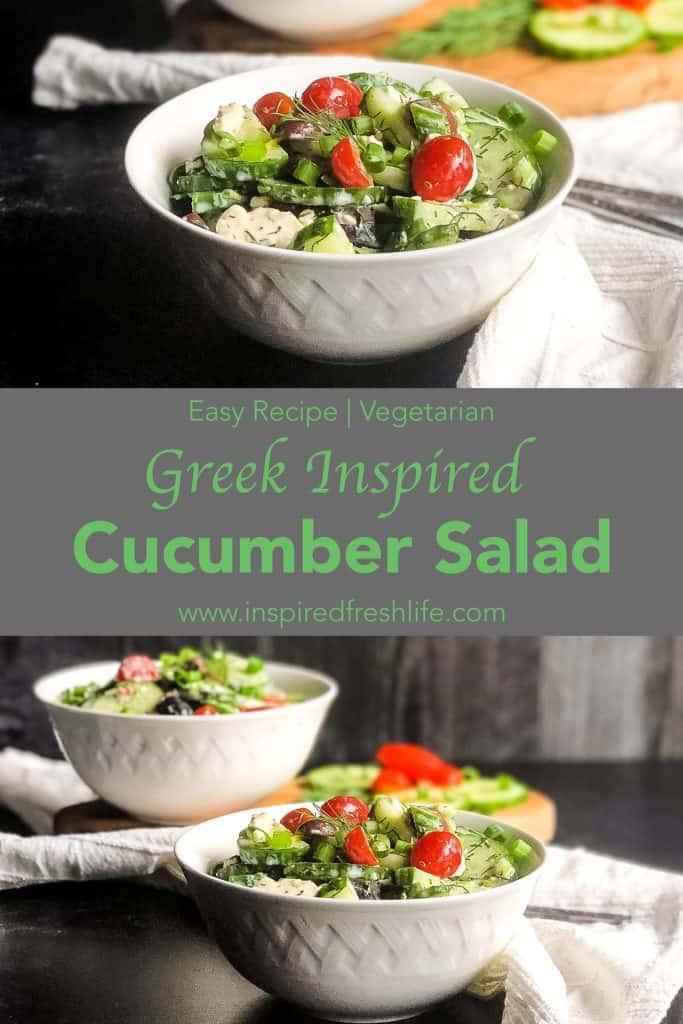 Pinterest image for Greek Inspired Cucumber Salad