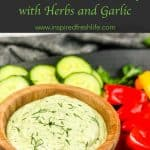 Pinterest Image for Ricotta Dip with Herbs and Garlic.
