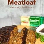 Pinterest image for BBQ Bacon Meatloaf.