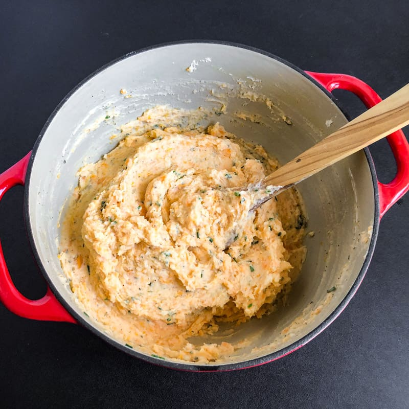 Finished Savory Mashed Sweet Potato Blend ready to transfer to a serving dish.