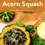 Pinterest image for Vegetarian Stuffed Acorn Squash.