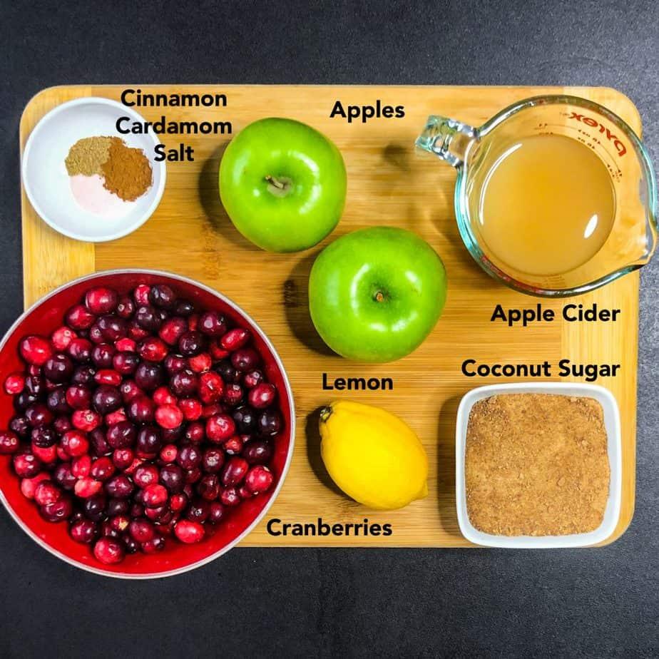 Ingredients on a wood cutting board.