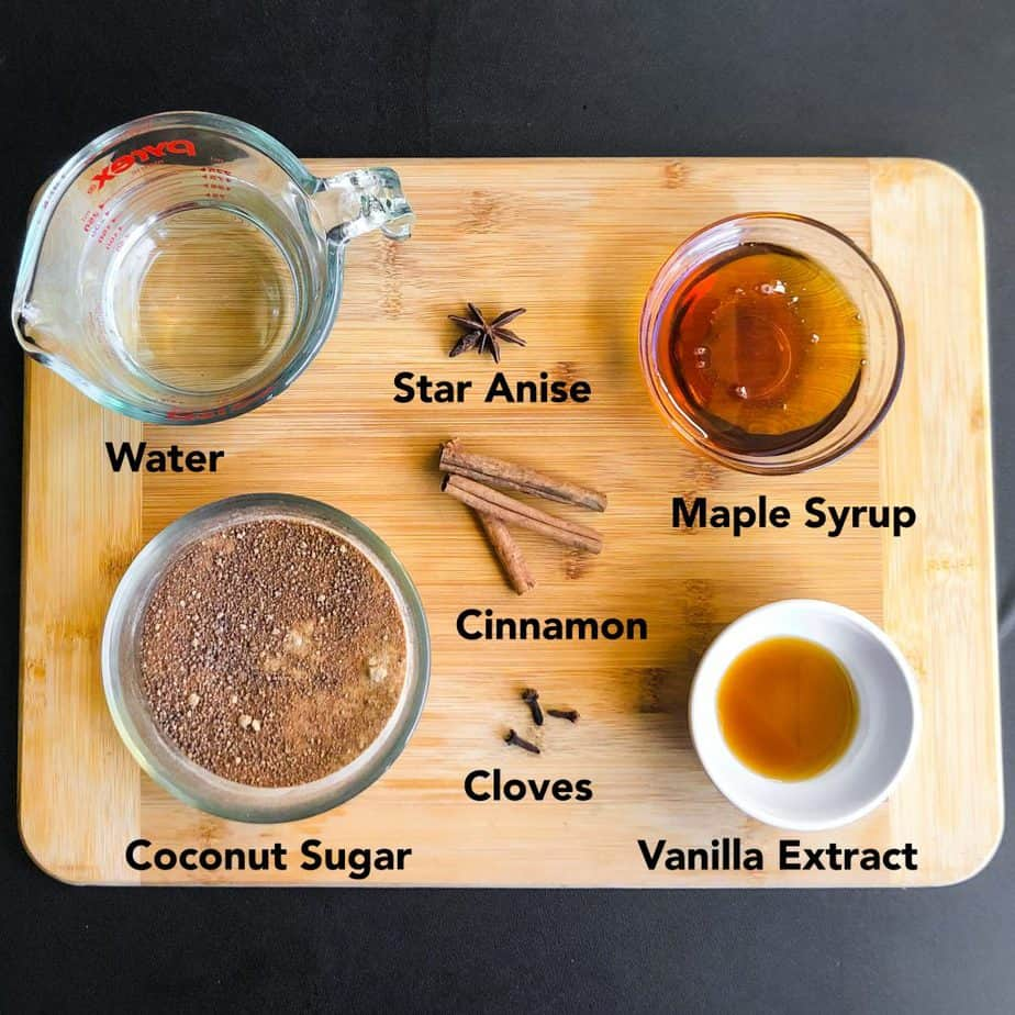 Ingredients prepped on a wood cutting board.