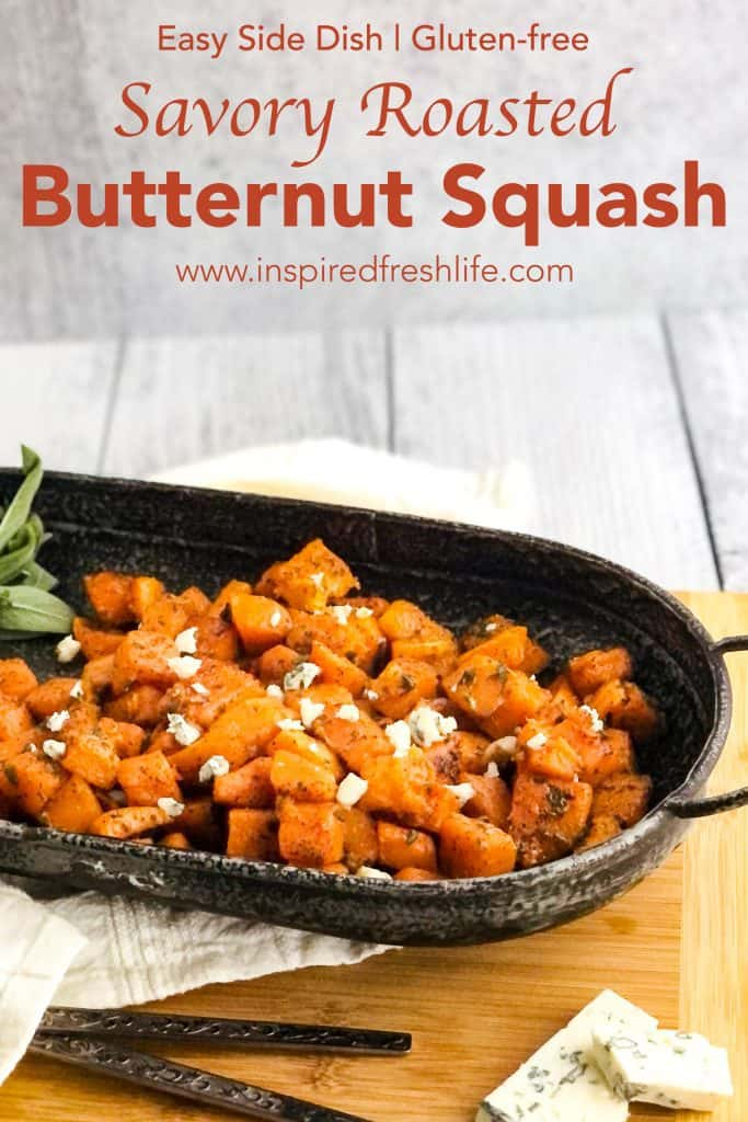 Pinterest image for Savory Roasted Butternut Squash.