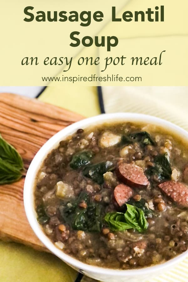 Pinterest image for Sausage Lentil Soup