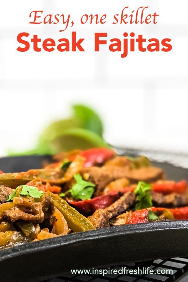 Pinterest image for Steak Fajitas.