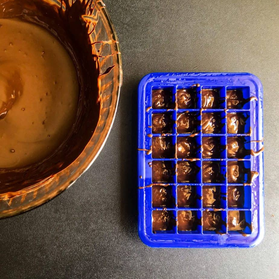 Mini ice tray filled 1/3 full with melted dark chocolate and bowl of melted chocolate next to it.