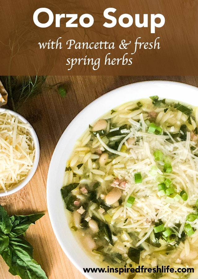 Pinterest image for Orzo Soup.