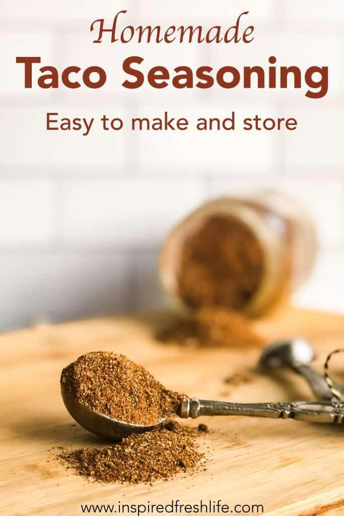 Pinterest image for Homemade Taco Seasoning.